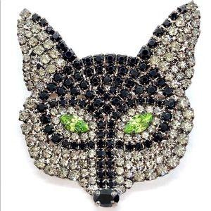 Mysterious Black Fox Brooch Swarovski Crystals